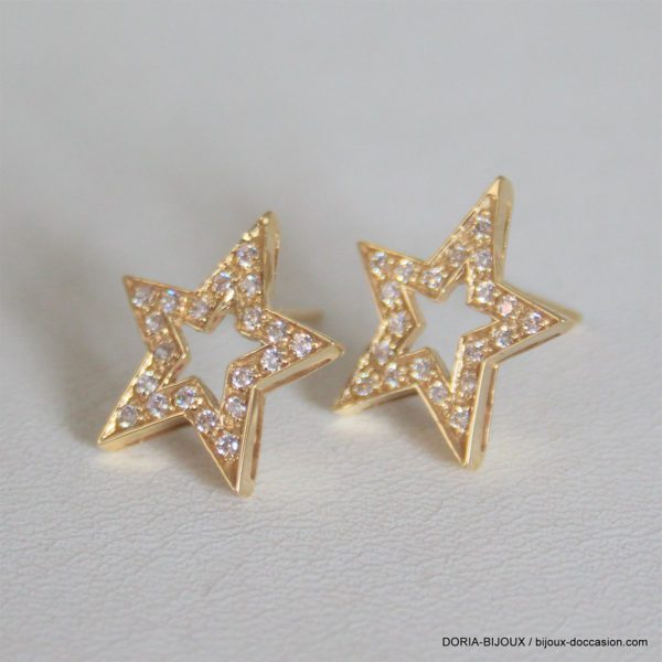 Boucles D'oreilles Étoiles Oxyde Zircon -or 18k