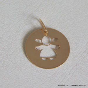 Médaille Pendentif Fille Or Jaune 18k 750 - 0.7grs