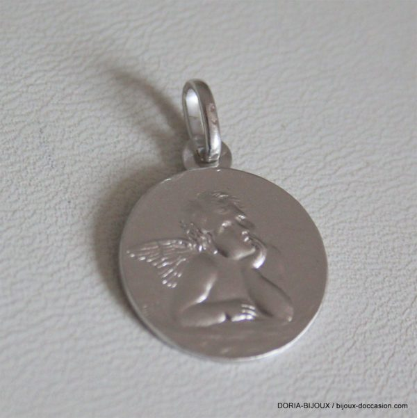 Medaille Pendentif Ange Or Blanc 18k 750- 2.55grs