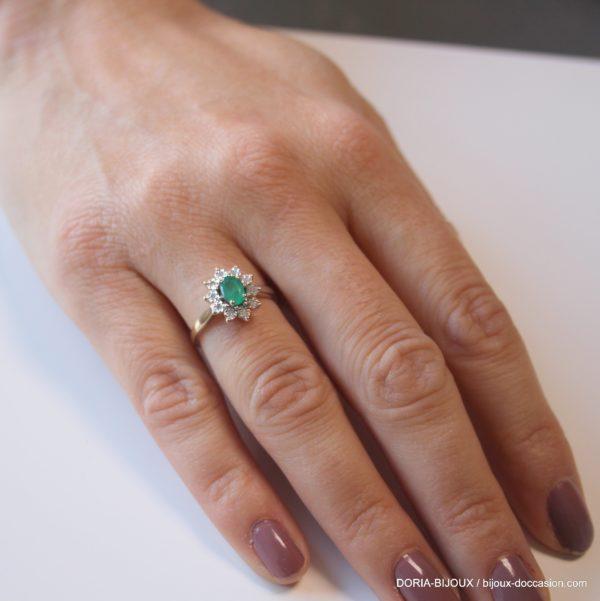 Bague Or 18k 750 Emeraude Et Diamants 2.7 Grs -50