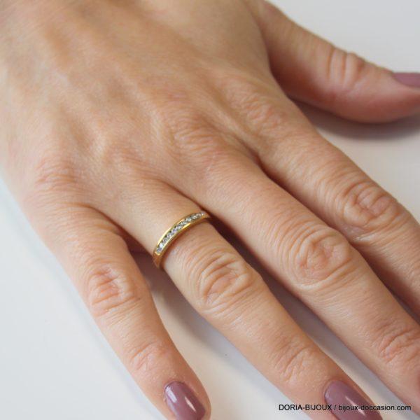 Bague Demi Alliance Or 18k 750 Diamants- 2.6grs- 50