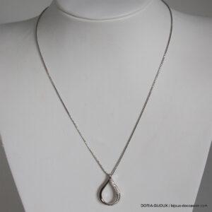 Collier Or Gris 18k 750 Pendentif Diamants - 4.9grs