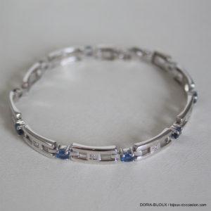Bracelet Or 18k 750 Saphirs Diamants 13.5grs - 19cm-
