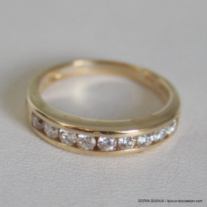 Bague Or 18k 3 Rangs Diamants Diamants - 3.3grs-