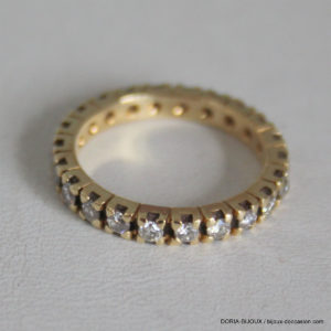Bague Or 18k Tour Complet  Diamants - 3.6grs-  53