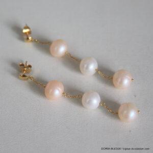 Boucles D'oreilles Or 18k Perles - 6.65gr