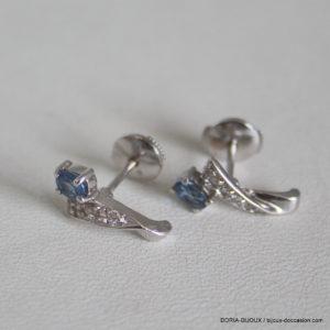 Boucles D'oreilles Or 18k 750 Saphir Diamants 2.2grs