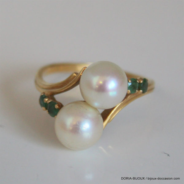 Bague Or 18k 750/000 3.50grs  Perle Emeraude