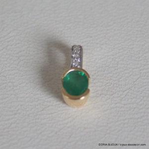 Pendentif Or Jaune 18k, 750 Emeraude Diamants -0.70g