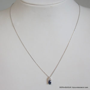Collier Or Gris18 K 750 Saphir Diamants - 2.10 Grs