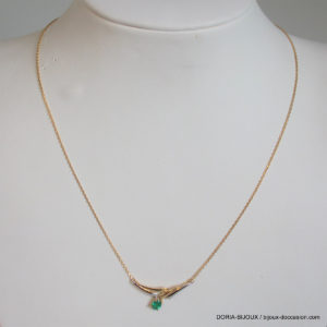 Collier Or Bicolore 18k 750 Emeraude - 2.3 Grs