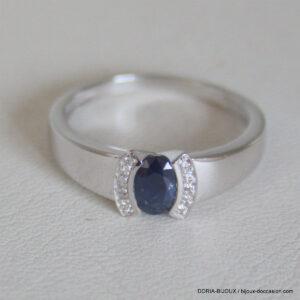 Bague Or Blanc 18k 3.15 Grs Saphir Diamant