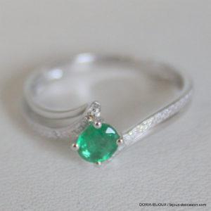Bague Or Blanc 1.70grs  18k Emeraude Diamant