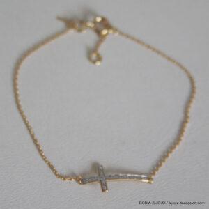 Bracelet Or 750 Croix Diamant 0.04ct