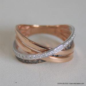 Bague Or Rose Et Blanc 18k Diamant Blanc Et Brun