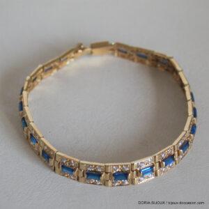 Bracelet Or 750 Maille Oz - Saphir - 18.3grs
