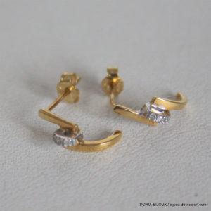 Boucles D'oreilles Or Bicolor Diamants 750 18k