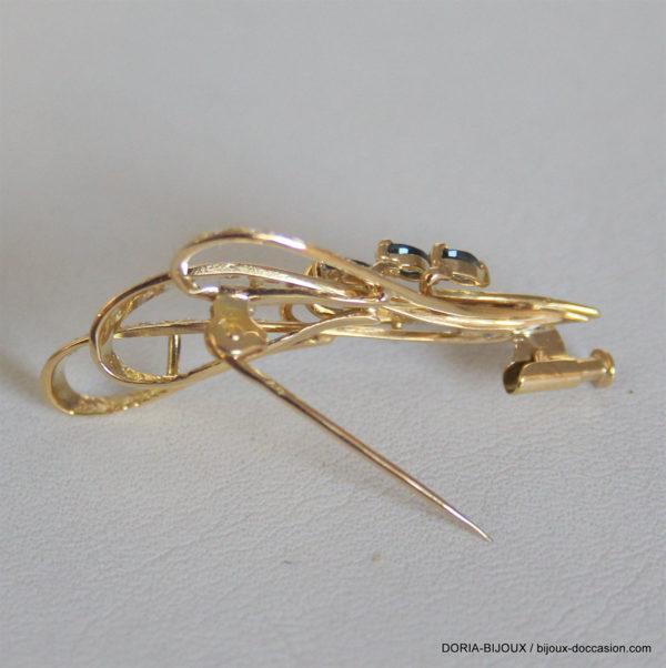 Broche Or Jaune Diamants Saphirs - 5.20grs