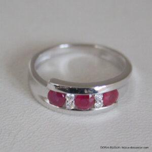 Bague Rubis Diamants 0.07ct Or Gris 18k 750 - 54