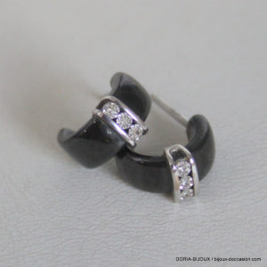 Boucles D'oreilles Céramique Or Blancs 750 Diamants
