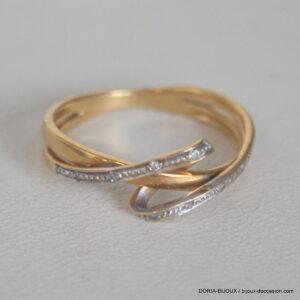 Bague Or Bicolore  750  Diamants - 3.1grs-  54