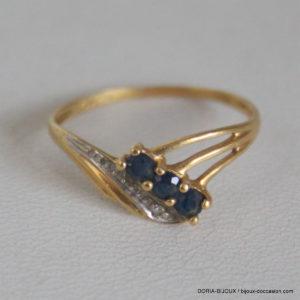 Bague Vintage Or 18k 750 Saphirs Diamant -1.4grs -55