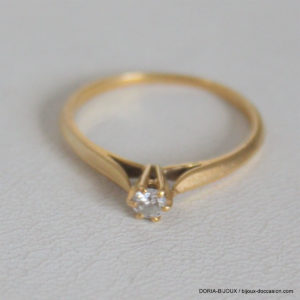 Bague Or 750 Solitaire Diamant 0.11cts  1.9grs -55