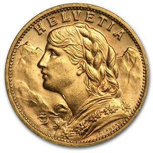 Pièce en Or 20 Francs, Croix suisse