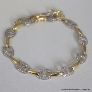 Bracelet Or Bicolore 750 18k 120 Diamants 12grs