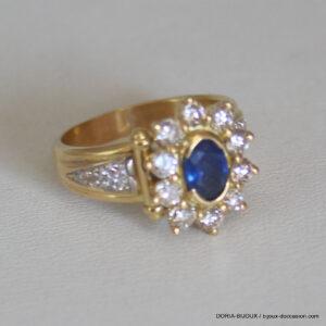 Bague Or Bicolor 18k 750 Saphir Diamants 8.5grs -55