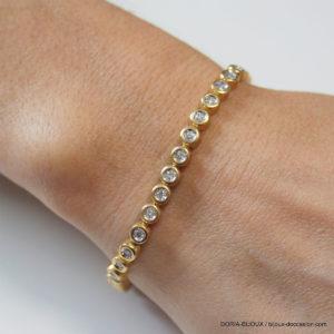 Bracelet Riviere De Diamants Or Jaune 750 - 17.7grs