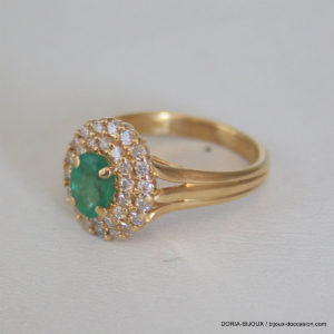 Bague Or  750-18k Emeraude Diamants 5.7grs- 53