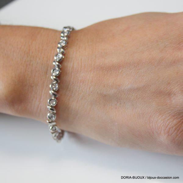 Bracelet Or Blanc 18k 750/000 10.19grs 30 Diamants