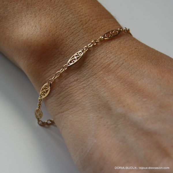 Bracelet Or 18k 750 Maille Filigrane- 2.95grs