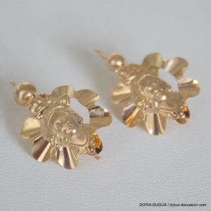 Boucles D'oreilles Pendante Or Jaune 18k 750 - 2grs