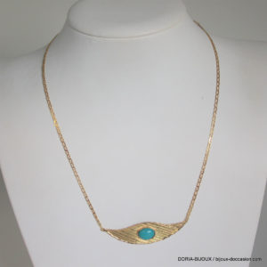 Collier Or 18k, 750/000  Pendentif Turquoise 5.4grs