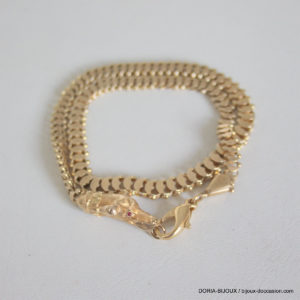 Bracelet Or Jaune 18k 750 Double Tour 34.5cm - 20.5grs