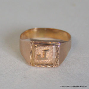 """Bague Chevaliere Initiale """"R"""" Or 750 18k - 3.1grs"""