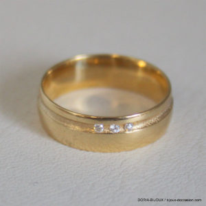 Bague Alliance Or 750 18k Diamants - 4.2grs- 51