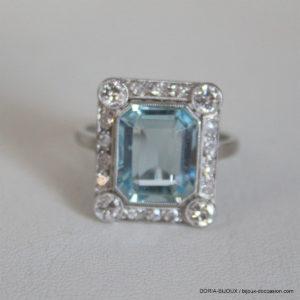 Bague Vintage Or Gris 18k Topaze Diamants 5.3grs -