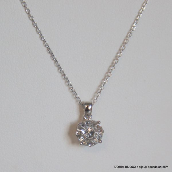 Collier Or Gris 18k, 750 Diamants 0.45cts Effet 1ct