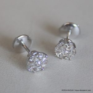 Boucles Or Gris 750  Diamants 0.35 Carats