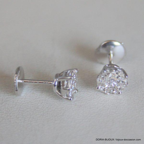 Boucles Or Gris 750  Diamants 0.35 Carats