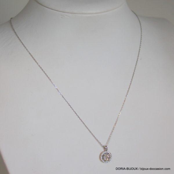 Collier Or Gris 750 Diamants 0.45cts Effet 1ct. Entourage