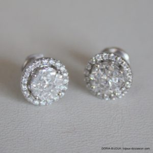 Boucles D'oreilles Or Gris 750 Diamants 0.45carats -