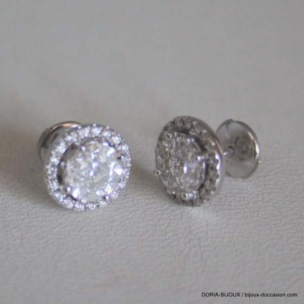 Boucles D'oreilles Or Gris 750 Diamants 0.45carats -