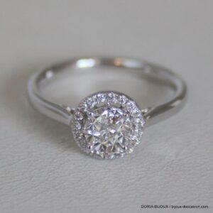 Bague Or Gris 750  Diamants 0.45cts Effet 1 Carat -
