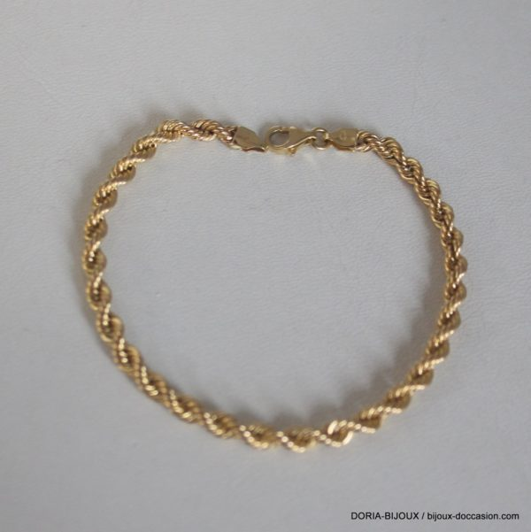Bracelet Or Maille Corde Or 18k 750 - 19cm - 3.75grs