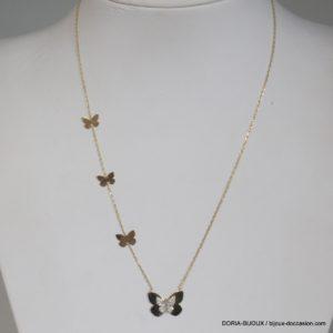 Collier Or  14k 585 Papillon Oxydes - 38cm-  1.3grs