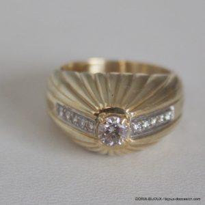 Bague Or 18k 750 Fantaisie Diamants - 10.5grs-  54